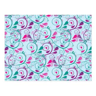 Teal Purple Pink Floral Flourish Swirls on Blue Postcard