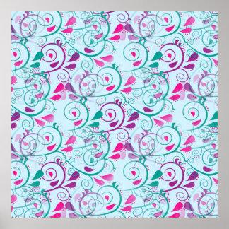 Teal Purple Pink Floral Flourish Swirls on Blue Print