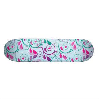 Teal Purple Pink Floral Flourish Swirls on Blue Skateboard Decks