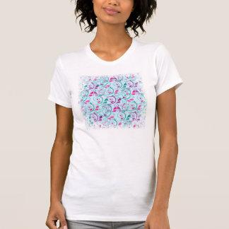 Teal Purple Pink Floral Flourish Swirls on Blue T-Shirt