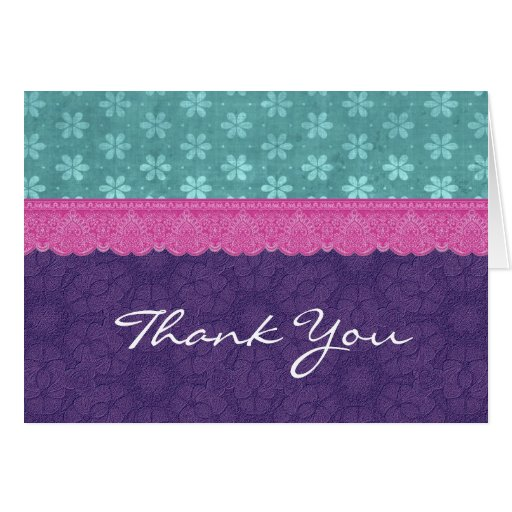 Teal Purple Pink Lace Thank You V1 Card