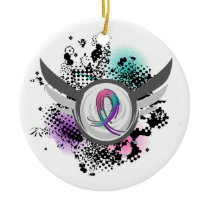 Teal Purple Pink Ribbon And Wings Thyroid Cancer Ceramic Ornament