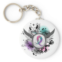 Teal Purple Pink Ribbon And Wings Thyroid Cancer Keychain