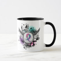 Teal Purple Pink Ribbon And Wings Thyroid Cancer Mug