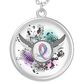 Teal Purple Pink Ribbon And Wings Thyroid Cancer Round Pendant Necklace