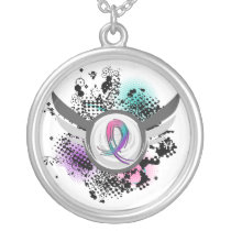 Teal Purple Pink Ribbon And Wings Thyroid Cancer Silver Plated Necklace