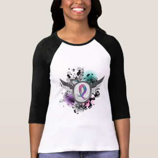 Teal Purple Pink Ribbon And Wings Thyroid Cancer T-Shirt