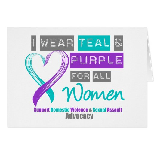 Teal & Purple Ribbon Women Domestic Violence Card