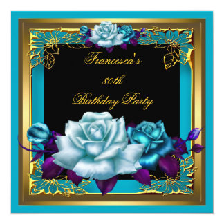 Teal Purple Roses Gold Elegant Womans Birthday 2 Card