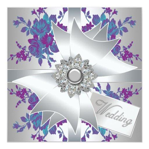 Teal purple roses wedding invitations zazzle