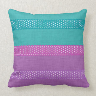 Teal Purple Silk Effect Ribbon Stripe Large Throw Pillow