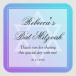 Teal Purple Star of David Bat Mitzvah Favor Square Sticker