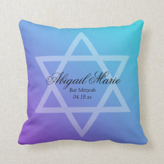 Teal Purple Star of David Bat Mitzvah Personalized Throw Pillow