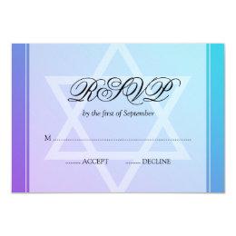 Teal Purple Star of David Bat Mitzvah RSVP Card