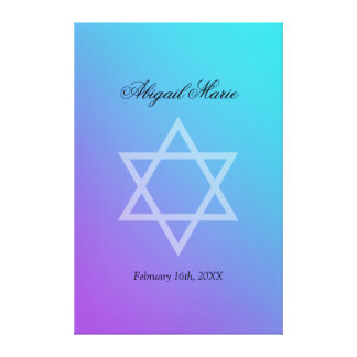 Teal Purple Star of David Bat Mitzvah Sign In Canvas Print