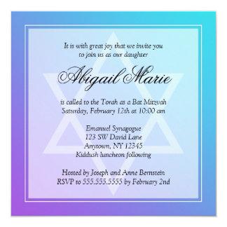 Teal Purple Star of David Bat Mitzvah Square Card