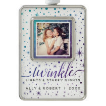Teal & Purple Stars & Falling Snow Dated Photo Christmas Ornament