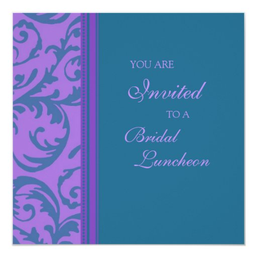 Teal Purple Swirl Bridal Luncheon Invitation Cards