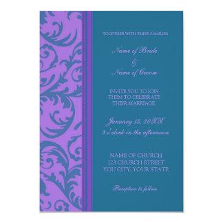Teal Purple Swirl Photo Wedding Invitation Cards