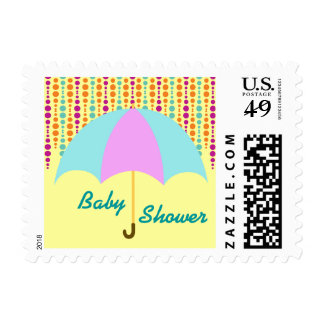 Teal & Purple Umbrella Baby Shower Postage