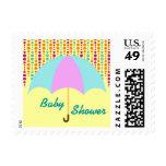 Teal & Purple Umbrella Baby Shower Postage