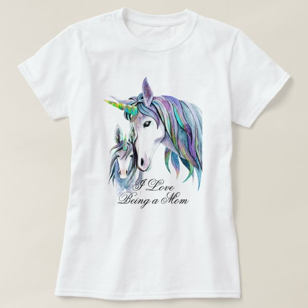 Teal Purple Unicorns Mother and Son T-Shirt