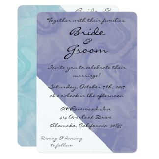 Teal & Purple Watercolor Twirl Wedding Invitation