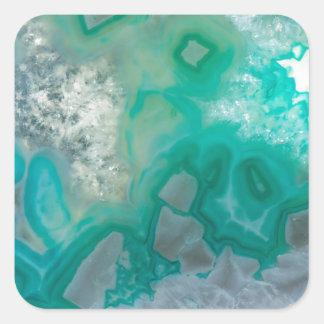 Teal Quartz Geode Square Sticker