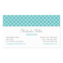 Teal Quatrefoil Pattern Business Card