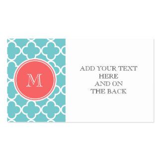 Teal Quatrefoil Pattern, Coral Monogram Business Card Templates