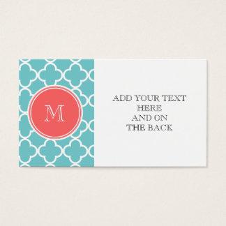 Teal Quatrefoil Pattern, Coral Monogram Business Card