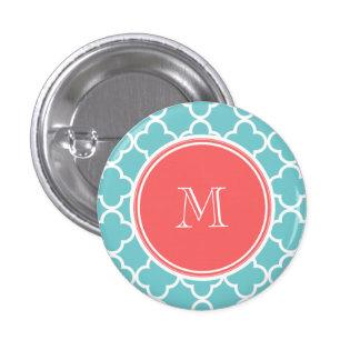Teal Quatrefoil Pattern, Coral Monogram Pin