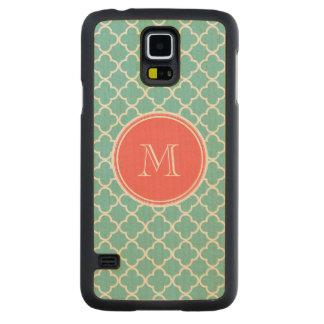 Teal Quatrefoil Pattern, Coral Monogram Carved Maple Galaxy S5 Slim Case