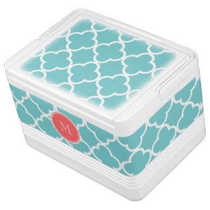 Teal Quatrefoil Pattern, Coral Monogram Cooler