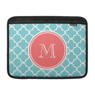 Teal Quatrefoil Pattern, Coral Monogram Sleeves For MacBook Air
