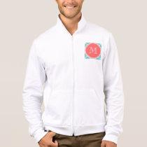 Teal Quatrefoil Pattern, Coral Monogram Jacket
