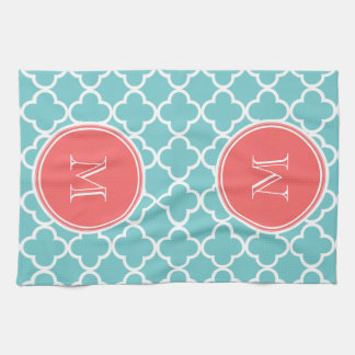Teal Quatrefoil Pattern, Coral Monogram Kitchen Towel