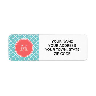 Teal Quatrefoil Pattern, Coral Monogram Return Address Labels