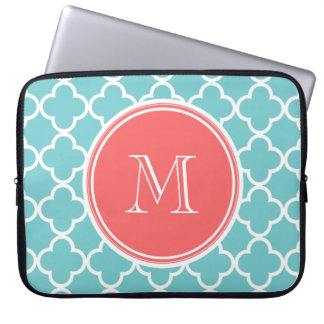 Teal Quatrefoil Pattern, Coral Monogram Laptop Computer Sleeves
