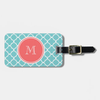 Teal Quatrefoil Pattern, Coral Monogram Tag For Luggage