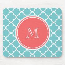 Teal Quatrefoil Pattern, Coral Monogram Mouse Pad
