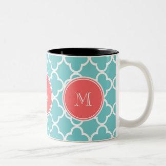 Teal Quatrefoil Pattern, Coral Monogram Mug