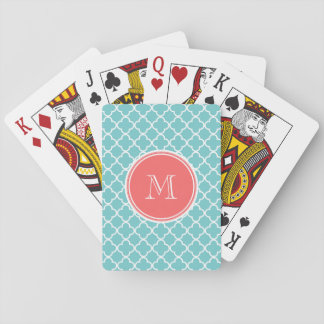 Teal Quatrefoil Pattern, Coral Monogram Playing Cards