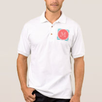 Teal Quatrefoil Pattern, Coral Monogram Polo Shirt
