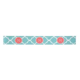 Teal Quatrefoil Pattern, Coral Monogram Satin Ribbon