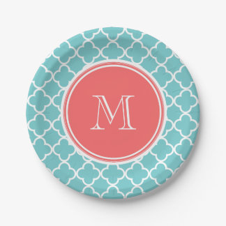 Teal Quatrefoil Pattern, Coral Monogram 7 Inch Paper Plate