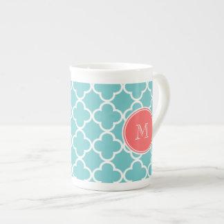 Teal Quatrefoil Pattern, Coral Monogram Porcelain Mug