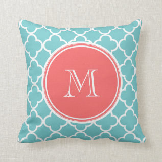 Teal Quatrefoil Pattern, Coral Monogram Throw Pillow at Zazzle