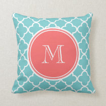 Teal Quatrefoil Pattern, Coral Monogram Throw Pillow