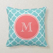Teal Quatrefoil Pattern, Coral Monogram Throw Pillow